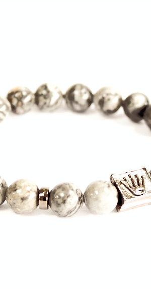 Crown Ingot Grey Agate Bracelet