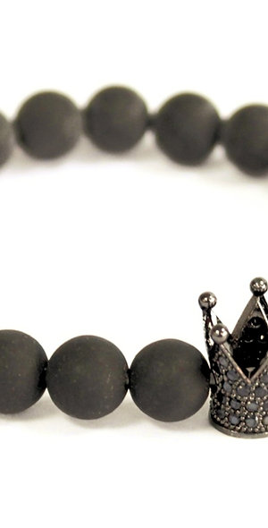 Black Agate Crystal Crown Bracelet