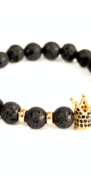 Gold Crown Lava Stone Bracelet