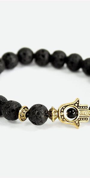 Black Lava Stone Hamsa Bracelet
