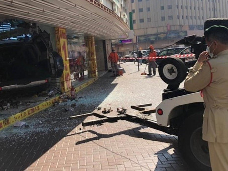 Three injured after Car crashes into a shop in Dubai