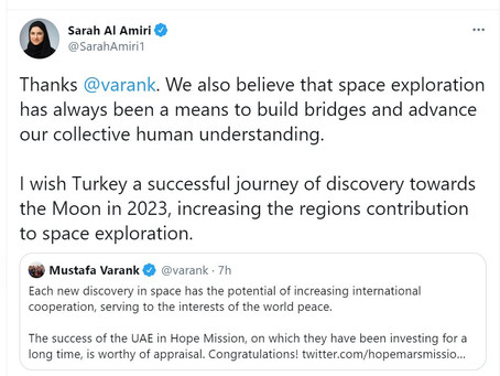 UAE minister thanks Turkish counterpart after Hope Probe success, wishes Turkey successful Moon miss