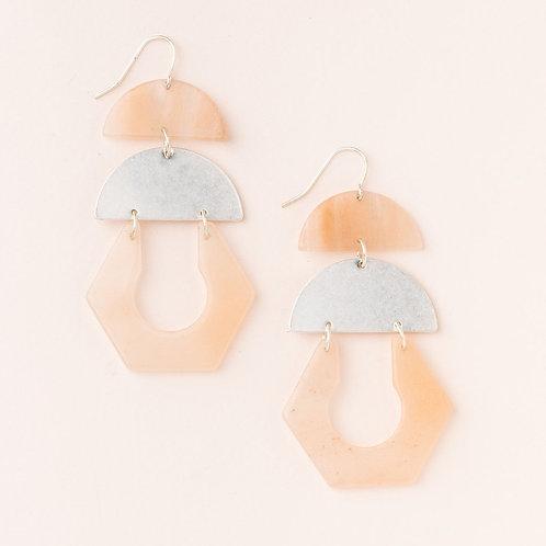 Stone Cutout Earring - Sunstone/Silver