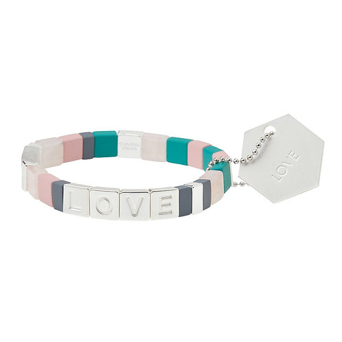 Empower Bracelet | LOVE - Silver/Rose Quartz/Labradorite