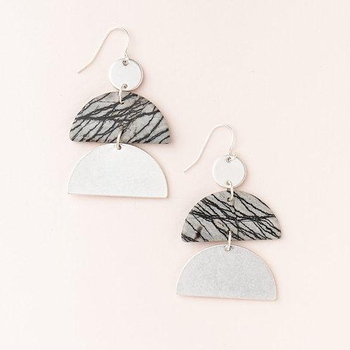Stone Half Moon Earring - Picasso Jasper/Silver