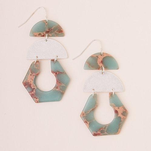 Stone Cutout Earring - Aqua Terra/Silver