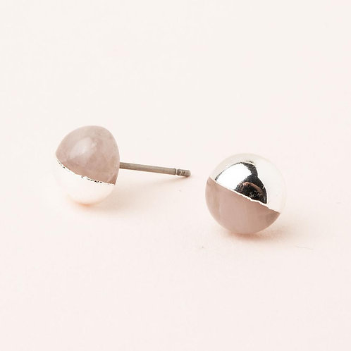 Dipped Stone Stud - Rose Quartz/Silver