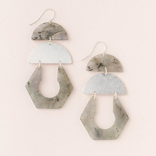 Stone Cutout Earring - Labradorite/Silver