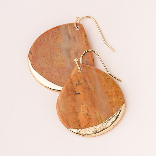 Stone Dipped Teardrop Earring - Petrified Wood/Gold