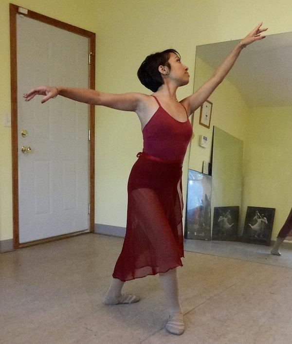 Angela executing a ballet pose