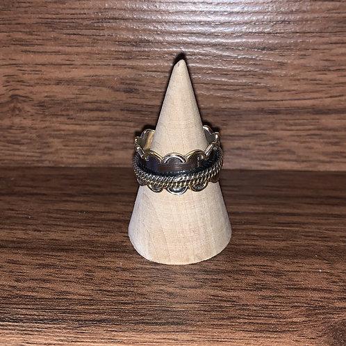 Spinner Ring. Sterling/Brass Sz 9