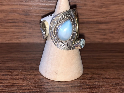 Larimar Designer Ring Sz 7.5, Yet Adjustable!