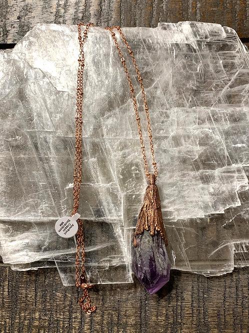 Amethyst and Copper Electroform Necklace