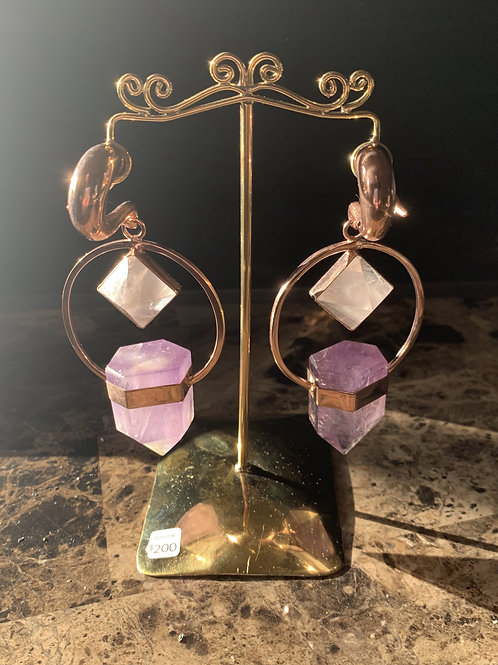 0g Amethyst and Rose Quartz Brass Hangers