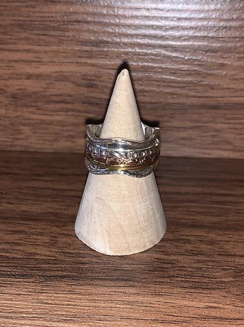 Spinner Ring. Sterling/Copper/Brass
