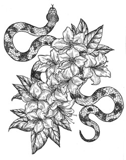 copperhead and rhododendron