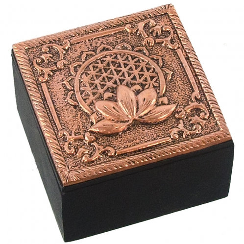 Bronze Metal Trinket Box - Flower of Life