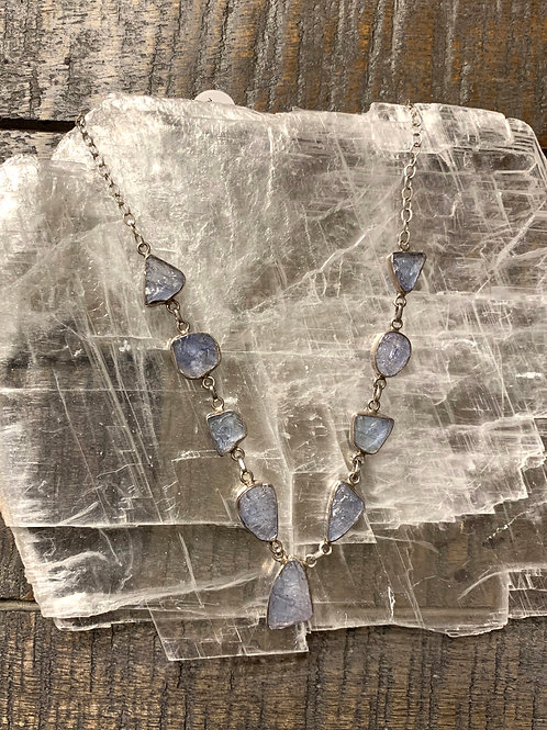 Tanzanite Slice Gemstone Crystal Designer Necklace