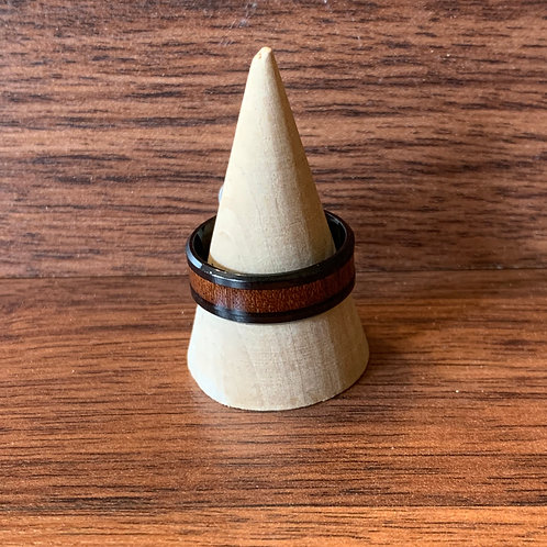 Wood Inlay Stainless Steel Ring Sz 11