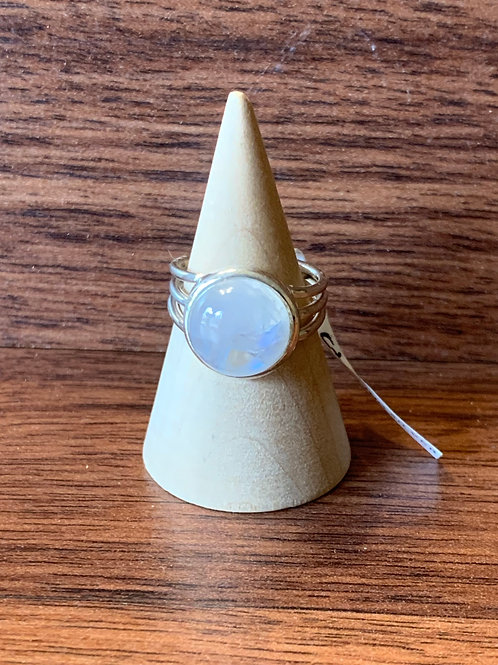Rainbow Moonstone Designer Ring Sz 7