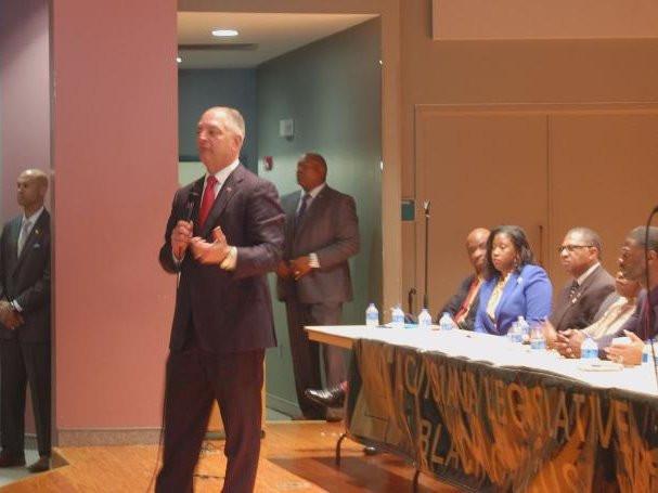 Gov. John Bel Edwards spoke at a town hall meeting that the Louisiana Legislative Black Caucus held in Lafayette. | Photo Credit: Devon Sanders / LSU Manship School News Service