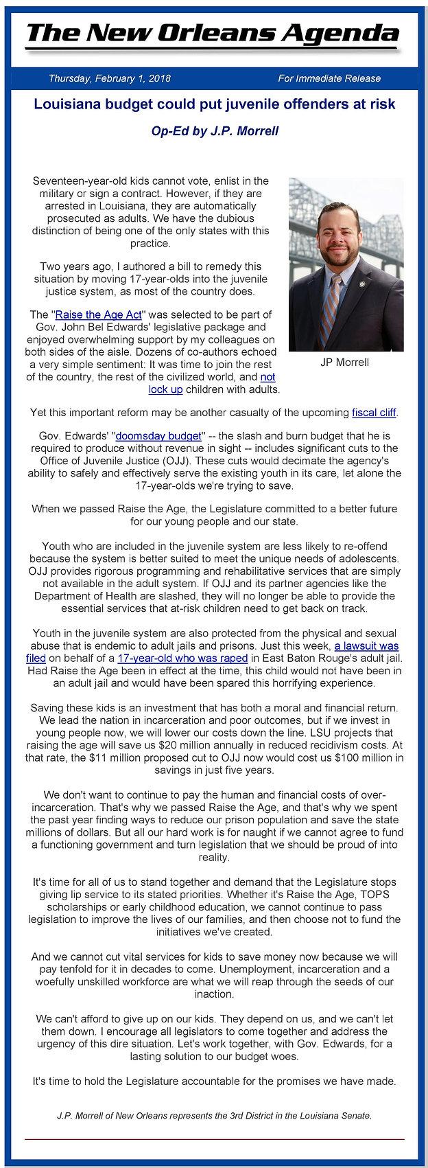 Senator J. P. Morrell offers Op-Ed on Louisiana budget's impact on juvenile offenders