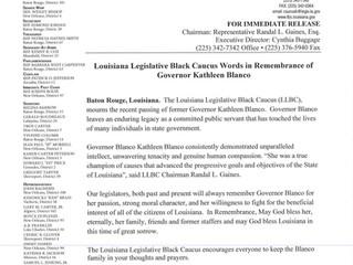 Louisiana Legislative Black Caucus Words of Rememberance of Governor Kathleen Blanco