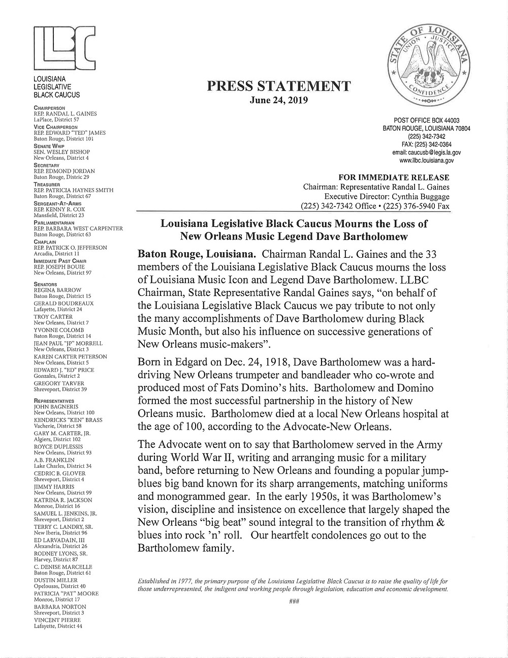 Louisiana Legislative Black Caucus mourns the loss of Louisiana Music Icon and Legend Dave Bartholomew