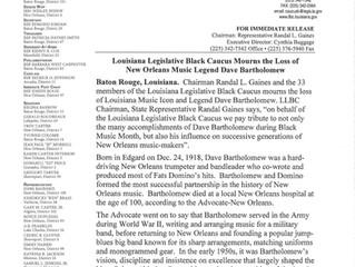 Louisiana Legislative Black Caucus mourns the loss of Louisiana Music Icon and Legend Dave Bartholom