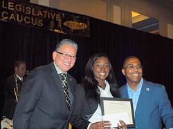 Jasmine Mitchell - Scholarship Recipient - GSU Pres Gallot & Sen Bishop_edited