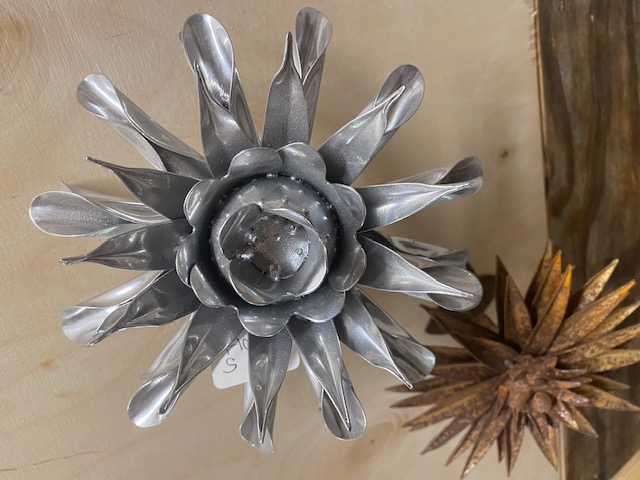 Metal and distressed iron flowers