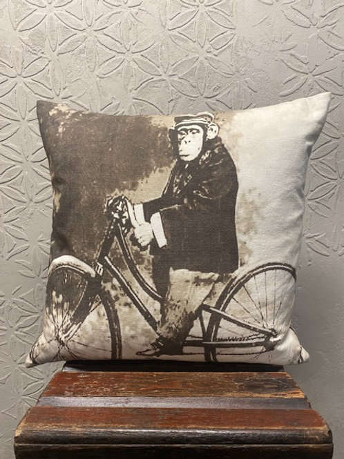 Vintage Chimp on bike pillow