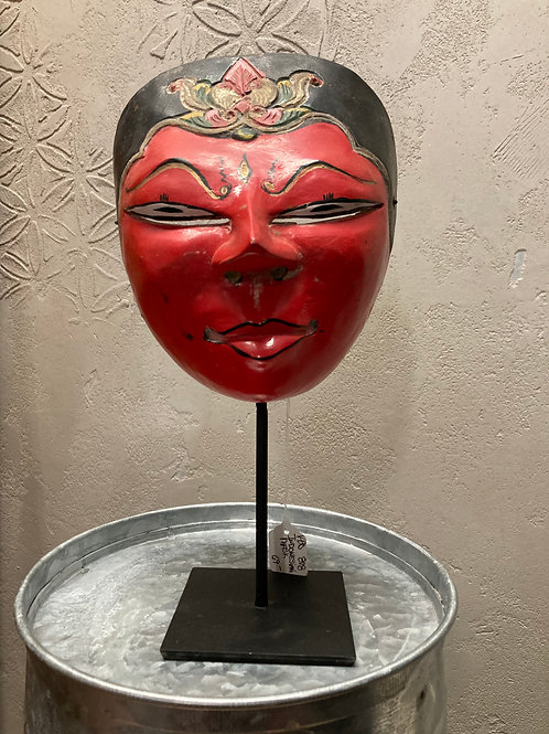 Indonesian Handcrafted Antique Wood Mask on Metal Stand