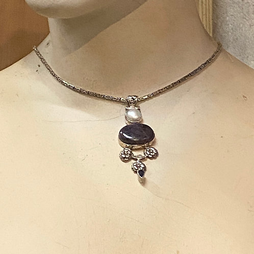 Lepidolite, Bewa Pearl, and Iolite SS necklace