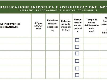 Certificato Energetico APE: obbligatorie le raccomandazioni per migliorare la classe energetica