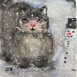Katt med  snögubbe/ akvarell