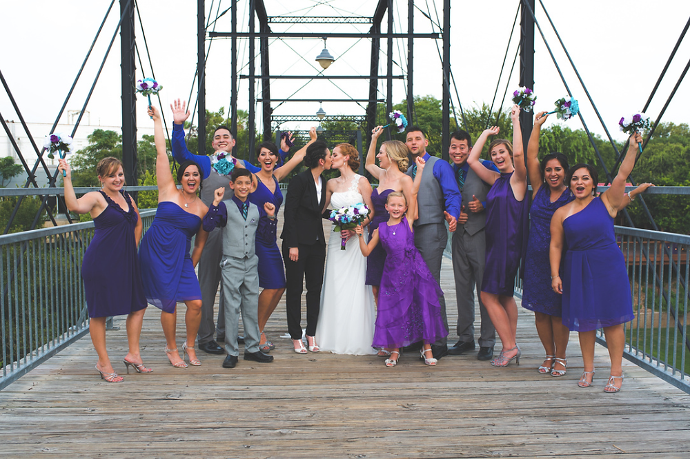 wedding party on the faust bridge