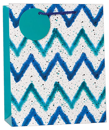 Blue Zig Zag Medium Gift Bag