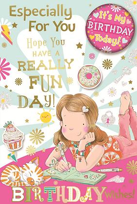 Happy Birthday Girl With Badge