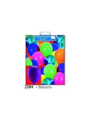 2 x Balloon Gift Wrap Sheet & Tags