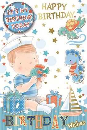 Happy Birthday Boy with Badge