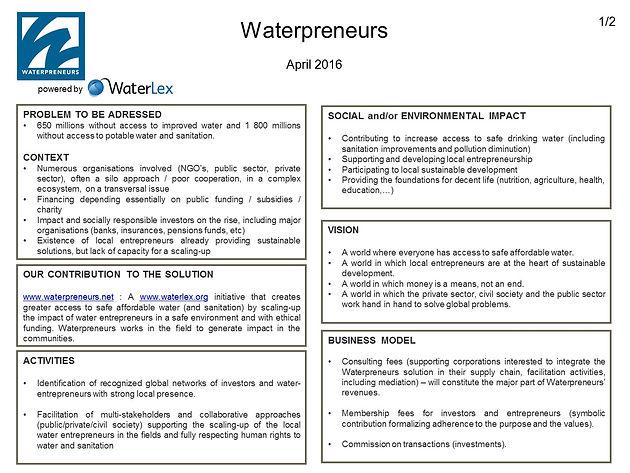 April 2016 update | Waterpreneurs