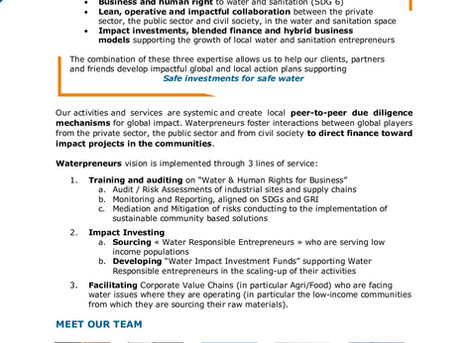 💧 Looking for an expert in Business Water and Human Rights?  📈Interested in Impact Investing and S