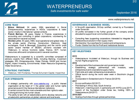 Waterpreneurs executive summary - Version September 2016
