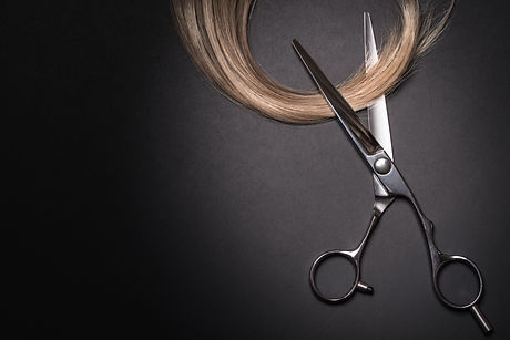 Scissors and piece of blond hair. Profes