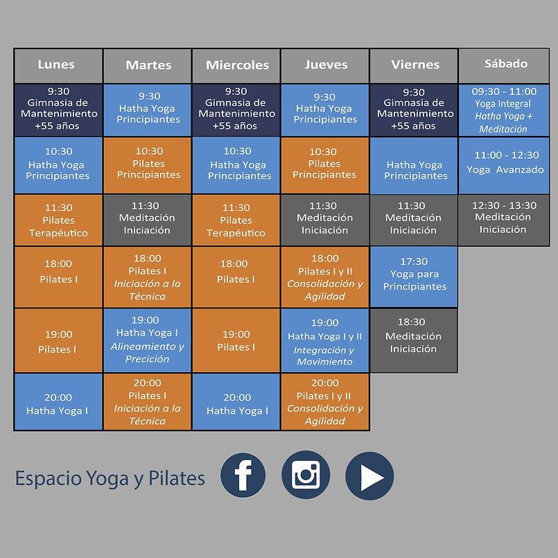 tabla de horarios de clases colectivas meditación yoga pilates guadalajara azuqueca