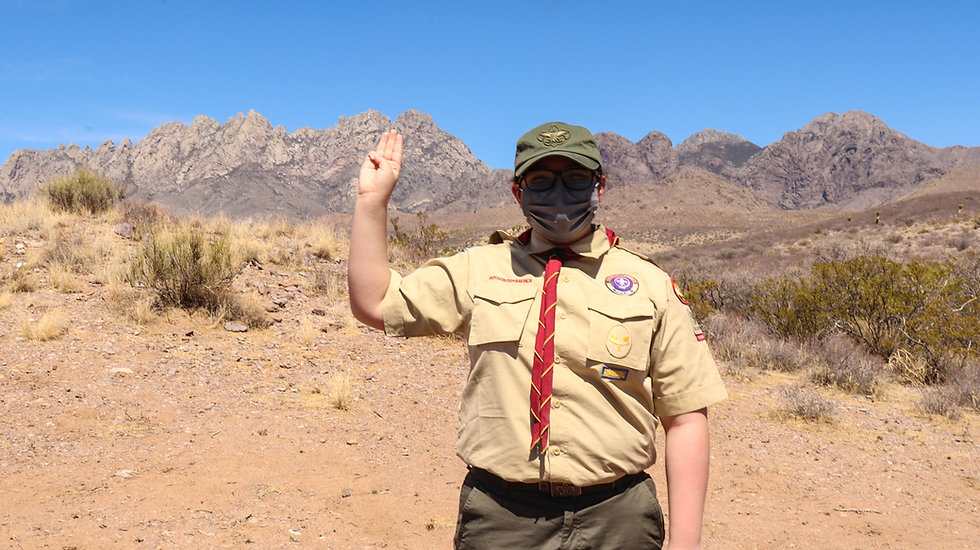 Troop Members Showing Scout Sign in Front of Organ Mountains.jpg