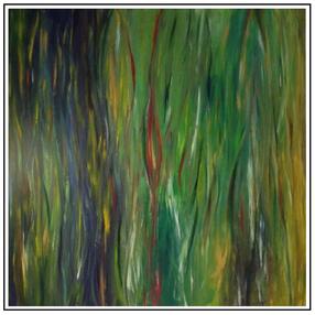 Rainbow Eucalyptus Tree Bark, 2016, acrylic and oil on canvas