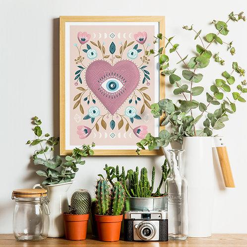 Visualise Third Eye Heart Print