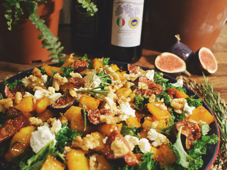 Honey and rosemary roasted butternut squash and fig with goats cheese, walnuts and kale.